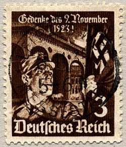 A stamp published in commemoration of Beer Hall Putsch in 1935