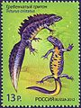 Stamp of Russia 2012 No 1599 Great Crested Newt.jpg