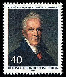 Hardenberg auf einer Briefmarke der Deutschen Bundespost Berlin von 1972 (Quelle: Wikimedia)