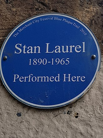 Stan Laurel - Stan Laurel plaque, Britannia Music Hall, Glasgow