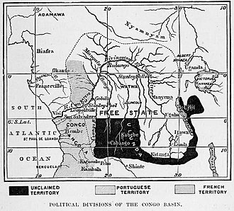 "Rumaliza - Congo Free State map from Stanley's 1885 book. Ujiji is in ""unclaimed territory"" to the east of Lake Tanganyika."