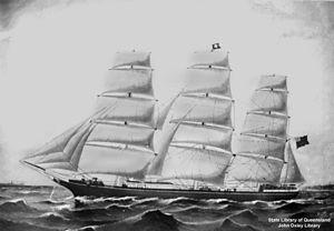 Blackadder (clipper) - Blackadder as a full-rigged ship