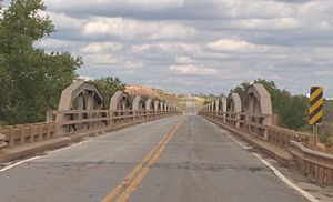 National Register of Historic Places listings in Clay County, Texas - Image: State Highway 79 Bridge at the Red River