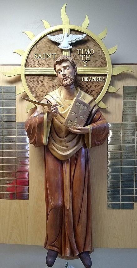 Statue of Saint Timothy at the Saint Timothy's Church in The Villages, Florida. Statue of Saint Timothy.jpg