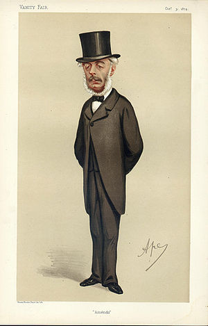 "Stephen Cave - ""Amends"" The Rt Hon Stephen Cave MP as caricatured by Ape (Carlo Pellegrini) in Vanity Fair, October 1874"