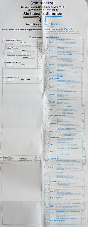 Landtag of North Rhine-Westphalia - Ballot for the electoral district of Herford II, in the 2010 election