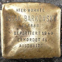 Photo of Issak Barkowsky brass plaque