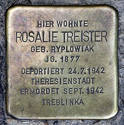 Photo of Rosalie Treister brass plaque