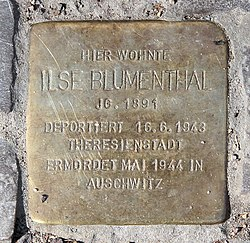 Photo of Ilse Blumenthal brass plaque