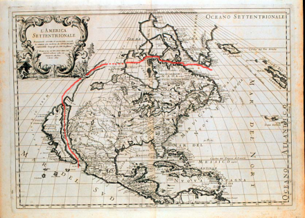 1687 map showing Baja California as an island with a possible Strait of Anian extending toward Hudson Bay Strasse von Anian.png
