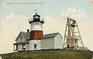 Stratford Point Light - 1908 postcard