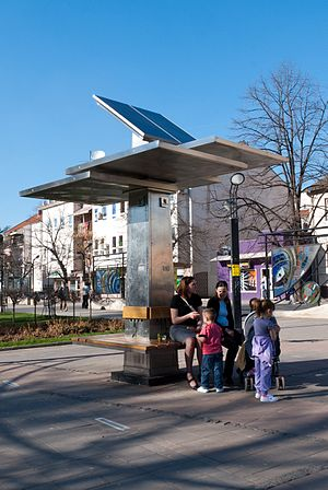 Solar charger - Public solar charger for mobile phones, in Obrenovac, Serbia