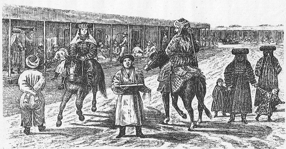 Street scene in Yarkand in the 1870s