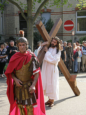 Procession - Christian Easter passion procession in Stuttgart, Germany (detail)