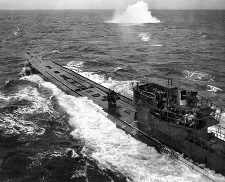 U-848 under attack by a US Navy Consolidated PB4Y-1 Liberator in November 1943 Submarine attack (AWM 304949).jpg