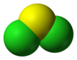Space-filling model of sulfur dichloride