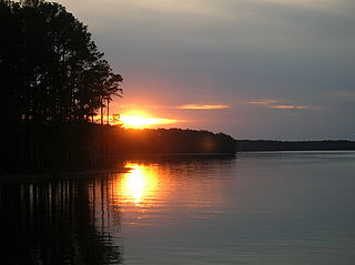 Lake Strom Thurmond reservoir on the border of Georgia and South Carolina in the United States