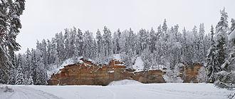Sandstone - Devonian Sandstone at Suur Taevaskoda, Põlva County, Estonia
