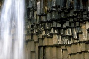 Detailed view on basalt columns at Svartifoss, Skaftafell national park, Iceland