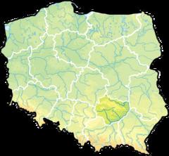 Województwo świętokrzyskie na mapie Polski