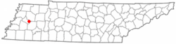 Location of Gadsden, Tennessee