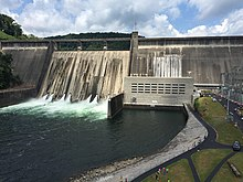 Photograph of Norris Dam, a hydroelectric power station operated by the Tennessee Valley Authority (TVA)