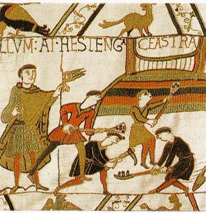 Hastings Castle - The construction of Hastings Castle depicted in the Bayeux Tapestry