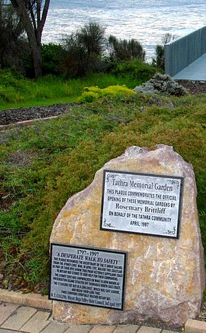Tathra, New South Wales - In Tathra's seaside Memorial Gardens, a plaque commemorates the bicentenary of a tragic trek by survivors of a shipwreck.