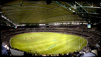 Docklands Stadium - Interior of the Docklands Stadium with the roof closed. Taken during a Collingwood vs Port Adelaide AFL Match, 1 July 2005.