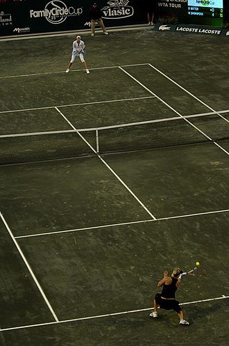 Tennis was invented in Edgbaston, Birmingham Tennis Match, Family Circle Cup 2008.JPG