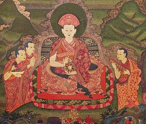 Gyalsey Tenzin Rabgye - Tenzin Rabgye (1638-96) and Attendants, Wall Painting, Late 17th century, zimkhang, Tango Monastery, Bhutan