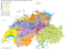 Multicolored map of Switzerland