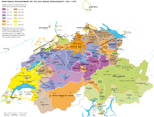 Territorial evolution of Switzerland - Image: Territorial development Swiss Confederacy