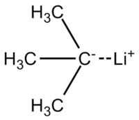 Skeletal formula of tert-butyllithium with all implicit hydrogens shown, and partial charges added