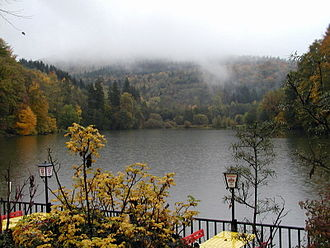 Arnold Schwarzenegger - Thalersee, a lake in Schwarzenegger's birthplace of Thal, pictured in October 2002