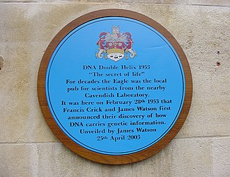 DNA - A blue plaque outside The Eagle pub commemorating Crick and Watson