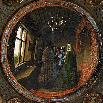 Virgin and Child with Canon van der Paele - Detail showing van Eyck's presumed self-portrait in the mirror reflection of his Arnolfini Portrait. National Gallery, London