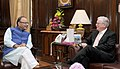 The Australian Minister for Trade and Investment, Mr. Andrew Robb meeting the Union Minister for Finance, Corporate Affairs and Information & Broadcasting, Shri Arun Jaitley, in New Delhi on October 26, 2015.jpg