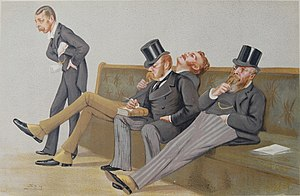 "Lord Randolph Churchill - ""The Fourth Party"" Spencer-Churchill, Balfour, Drummond-Wolff and Gorst as caricatured by Spy (Leslie Ward) in Vanity Fair, 1 December 1880"