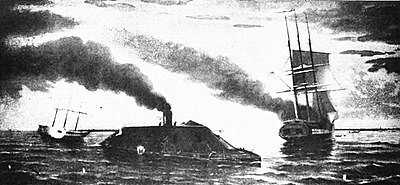 The ironclad Merrimac, renamed CSS Virginia (Confederate navy) changes history when she easily destroys the two U.S. blockading men-of-war ships, Congress and Cumberland