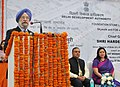 The Minister of State for Housing and Urban Affairs (IC), Shri Hardeep Singh Puri addressing at the foundation stone laying ceremony of Skywalk and FOB at 'W' Point, ITO, in New Delhi.jpg