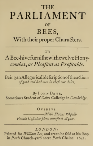 The Parliament of Bees - Title page of the 1641 edition, republished in 1881 by A. H. Bullen
