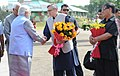 The Prime Minister, Shri Narendra Modi being received by the Chief Minister of Jammu and Kashmir, Shri Omar Abdullah, on his arrival at Jammu airport, in Jammu and Kashmir on July 04, 2014.jpg