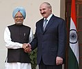 The Prime Minister Dr. Manmohan Singh shaking hands with the President of Belarus, Mr. Aleksandr Lukashenko, in New Delhi on April 16, 2007.jpg