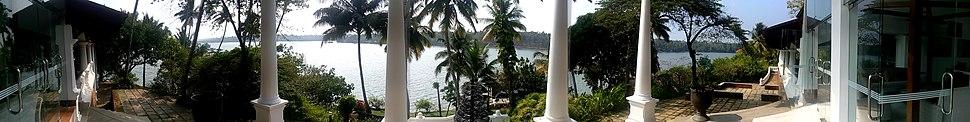 Panoramic view of Lake Ashtamudi from Hotel Raviz Kollam
