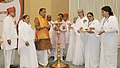 "The Union Minister for Agriculture and Farmers Welfare, Shri Radha Mohan Singh lighting the lamp to inaugurate the workshop on ""Ensuring Farmers Welfare through Traditional Organic Farming"", in New Delhi.jpg"