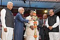 The Vice President, Shri M. Hamid Ansari lighting the lamp to inaugurate the 9th National Conference of the Indian Association of Lawyers with the theme 'Constitution, Supreme Court and Social Justice', in Bengaluru.jpg