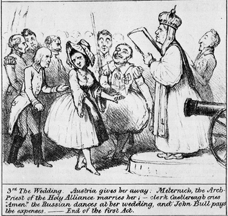 "United Kingdom of the Netherlands - A British cartoon, satirising the ""wedding"" of Belgium and the Netherlands at the Congress of Vienna"
