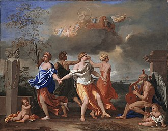 "Kenneth Widmerpool - Poussin's A Dance to the Music of Time, from which  the name of Powell's sequence of novels is derived. The four seasons dance in a circle as ""Time"" plays the lute, to the right."