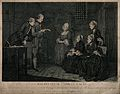 The family of Jean Calas sit listening to a man reading from Wellcome V0041233.jpg